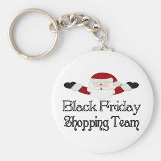 Equipo negro de las compras de viernes llavero