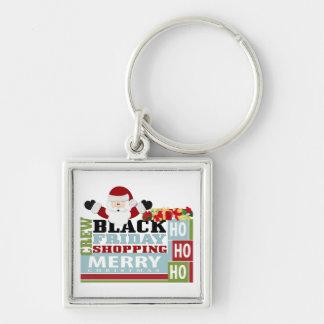 Equipo negro de las compras de viernes llavero cuadrado plateado