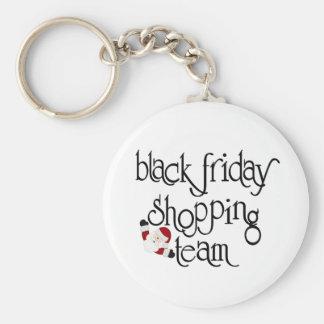Equipo negro de las compras de viernes llavero redondo tipo pin