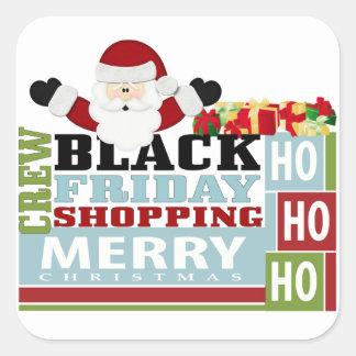 Equipo negro de las compras de viernes pegatina cuadrada