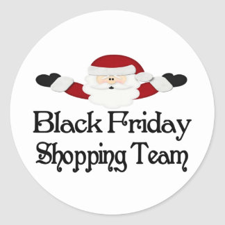 Equipo negro de las compras de viernes pegatina redonda