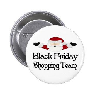 Equipo negro de las compras de viernes pin redondo 5 cm