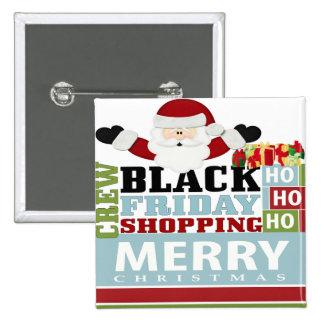 Equipo negro de las compras de viernes pin cuadrada 5 cm