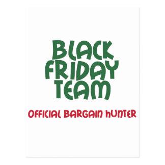 Equipo negro de viernes: Cazador de negocio Tarjetas Postales