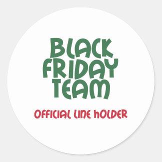 Equipo negro de viernes: Línea oficial tenedor Pegatina Redonda