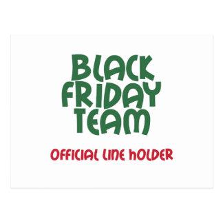 Equipo negro de viernes: Línea oficial tenedor Tarjeta Postal
