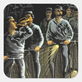 Equipo nocturno de la bici 1890 pegatina cuadrada