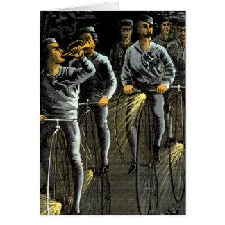 Equipo nocturno de la bici 1890 tarjeta de felicitación