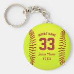 Equipo personalizado del softball llavero redondo tipo pin