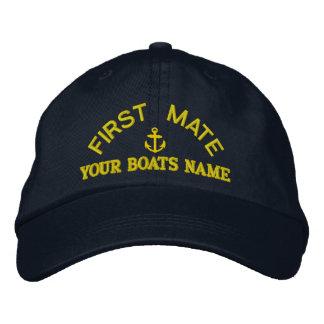 Equipo personalizado del yate del primer compañero gorra bordada