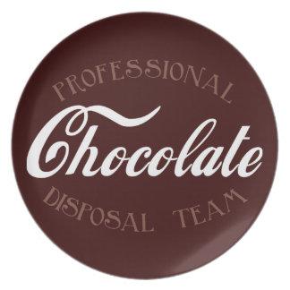 Equipo profesional de la disposición del chocolate plato de comida