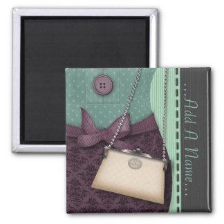 Equipo retro y bolso del boutique lindo imán cuadrado