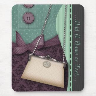 Equipo retro y bolso del boutique lindo alfombrilla de ratones