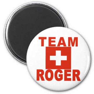 Equipo Rogelio con la bandera suiza Imán Redondo 5 Cm