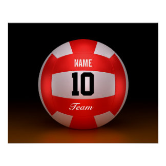 Equipo rojo del voleibol del personalizar perfect poster