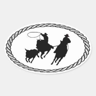 Equipo Roping estilo euro Pegatinas De Oval Personalizadas