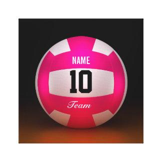 Equipo rosado brillante del voleibol impresiones de lienzo