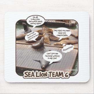 Equipo seis del león marino tapetes de ratón