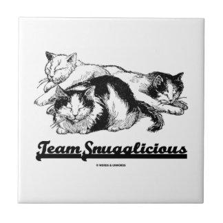 Equipo Snugglicious (el dormitar de tres gatos) Azulejo Cuadrado Pequeño