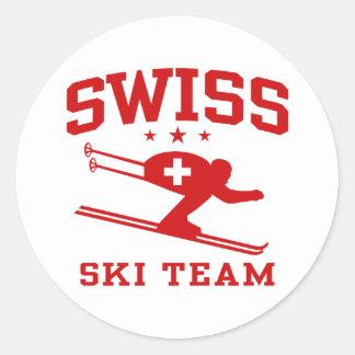Equipo suizo del esquí pegatina redonda