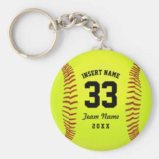 Equipo tipográfico del softball llavero redondo tipo pin