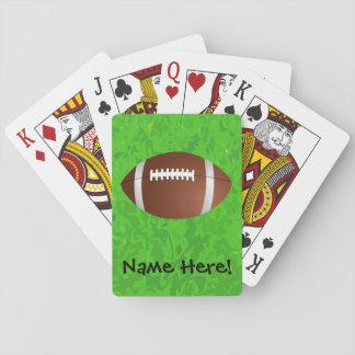 Equipo universitario del joven del campo de fútbol baraja de cartas