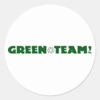 Equipo verde pegatina redonda