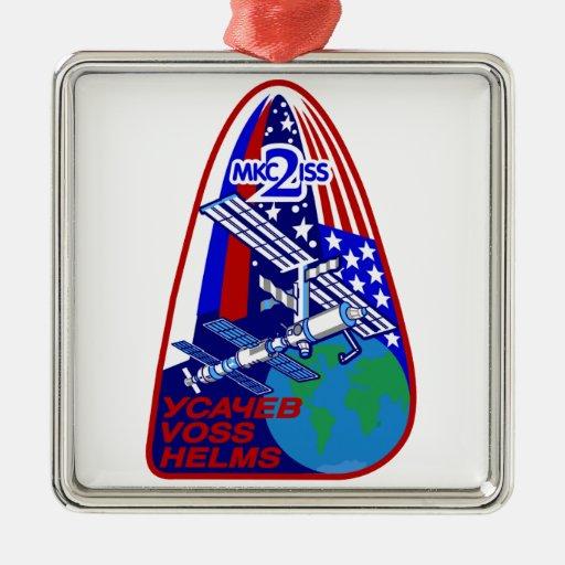 Equipos de la expedición al ISS:  Expedición 2 Adorno Navideño Cuadrado De Metal