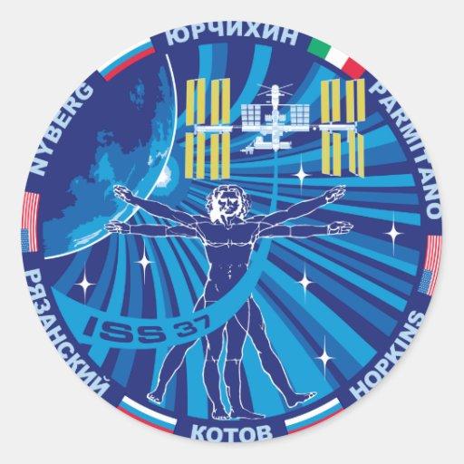 Equipos de la expedición al ISS:   Expedición 37 Etiquetas Redondas