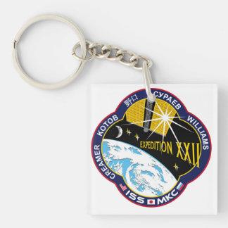 Equipos del ISS:  Expedición 22 Llavero Cuadrado Acrílico A Doble Cara