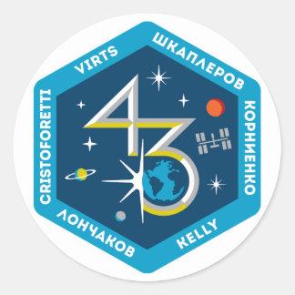 Equipos del ISS:  Expedición 43 Pegatina Redonda