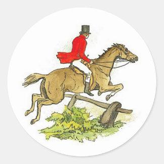 Equitación del cazador del puente de la caza de etiquetas redondas