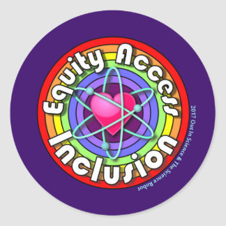 Equity Access Inclusion: Rainbow, Heart, and Atom Classic Round Sticker