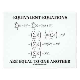 Equivalent Equations Are Equal To One Another Card