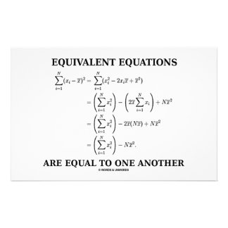 Equivalent Equations Are Equal To One Another Stationery
