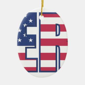 ER American Flag Stars Stripes Red White Blue Ceramic Ornament