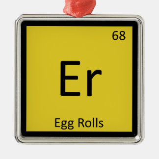 Er - Egg Rolls Appetizer Chemistry Periodic Table Square Metal Christmas Ornament