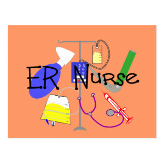 ER Nurse Medical Equipment Design Postcard