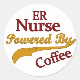 ER Nurse Powered By Coffee Classic Round Sticker