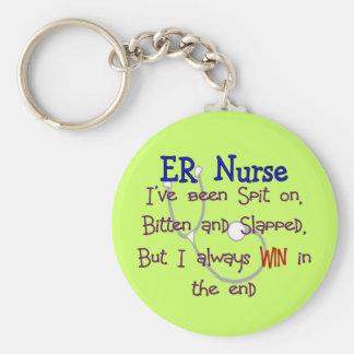 """ER Nurse """"SPIT ON BITTEN  and SLAPPED"""" Basic Round Button Keychain"""