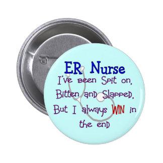 "ER Nurse ""SPIT ON BITTEN  and SLAPPED"" Button"