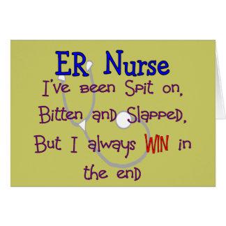ER Nurse SPIT ON BITTEN and SLAPPED Greeting Cards