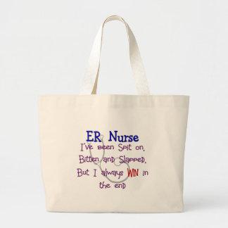 """ER Nurse """"SPIT ON BITTEN  and SLAPPED"""" Large Tote Bag"""
