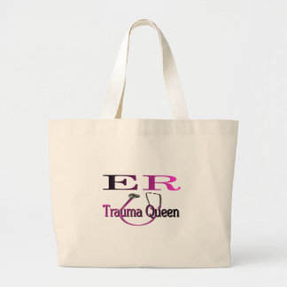 "ER Nurse ""Trauma Queen"" Shirt/Gifts Large Tote Bag"