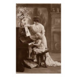 Era del Victorian - la lección de piano Póster