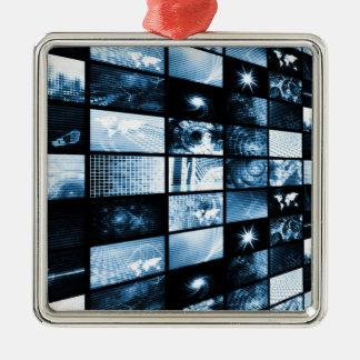 Era digital futurista TV y fondo de los canales Adorno Cuadrado Plateado