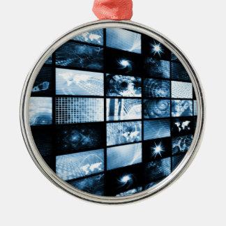 Era digital futurista TV y fondo de los canales Adorno Redondo Plateado