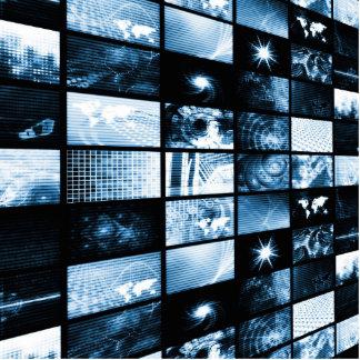 Era digital futurista TV y fondo de los canales Adorno Fotoescultura