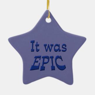 Era épico - fondo azul adorno de cerámica en forma de estrella