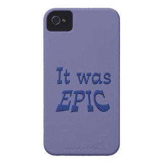 Era épico - fondo azul iPhone 4 Case-Mate coberturas